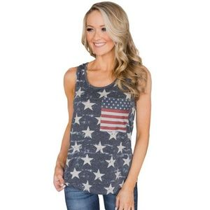 Tops - NEW American Flag Red, White and Blue Tank Top